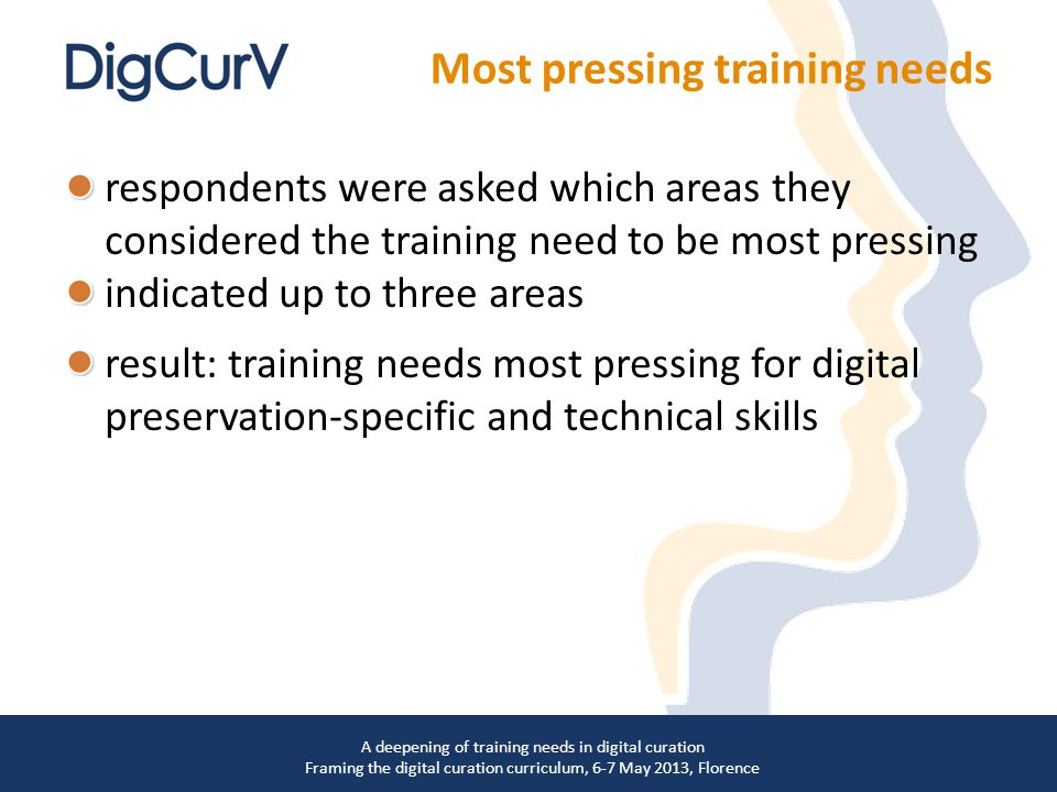 respondents were asked which areas they considered the training need to be most pressing indicated up to three areas result: training needs most pressing for digital preservation-specific and technical skills A deepening of training needs in digital curation Framing the digital curation curriculum, 6-7 May 2013, Florence Most pressing training needs