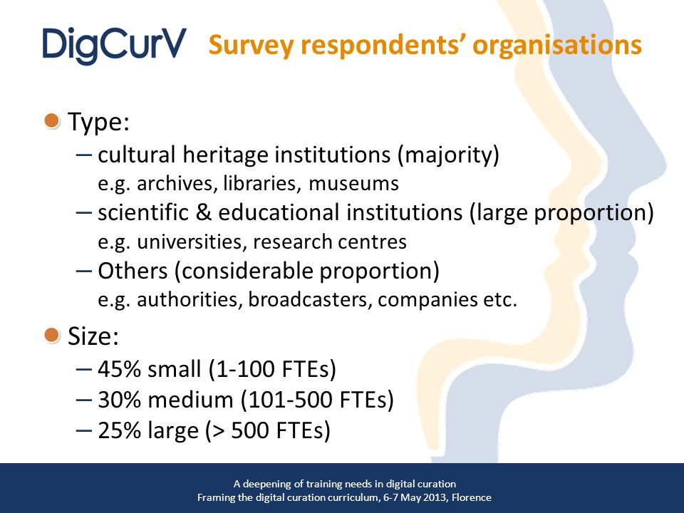 Type: – cultural heritage institutions (majority) e.g.