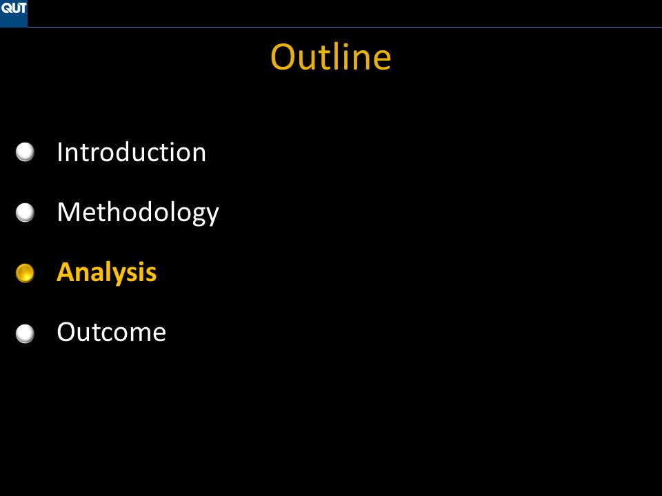 Outline Introduction Methodology Analysis Outcome