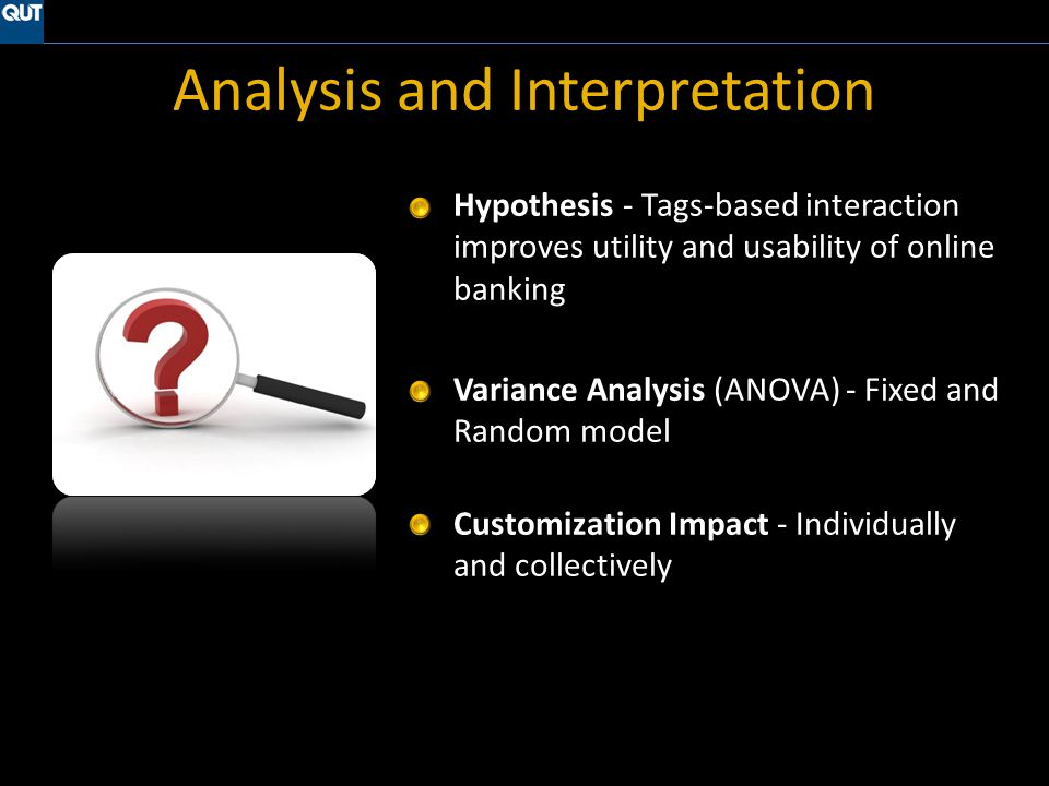 Analysis and Interpretation Hypothesis - Tags-based interaction improves utility and usability of online banking Variance Analysis (ANOVA) - Fixed and Random model Customization Impact - Individually and collectively
