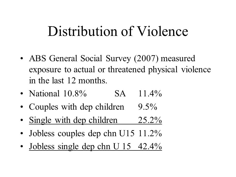 Distribution of Violence ABS General Social Survey (2007) measured exposure to actual or threatened physical violence in the last 12 months.