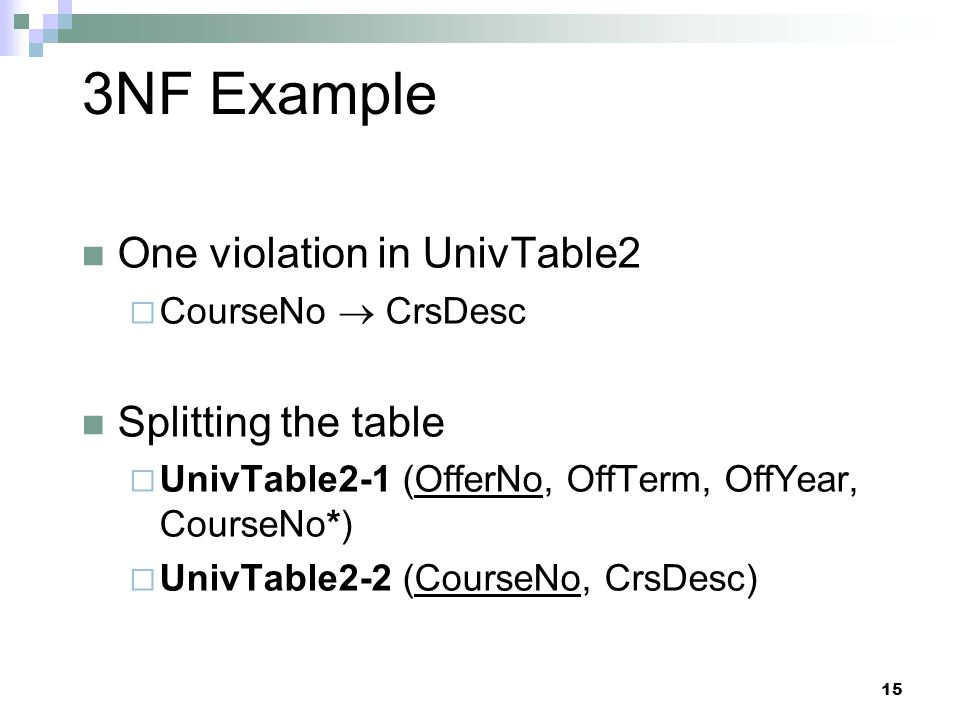 15 3NF Example One violation in UnivTable2  CourseNo  CrsDesc Splitting the table  UnivTable2-1 (OfferNo, OffTerm, OffYear, CourseNo*)  UnivTable2-2 (CourseNo, CrsDesc)