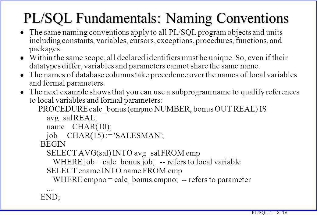 PL/SQL-1 8. 18 PL/SQL Fundamentals: Naming Conventions  The same naming conventions apply to all PL/SQL program objects and units including constants