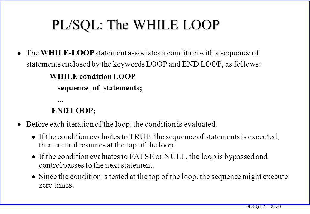PL/SQL-1 8. 29 PL/SQL: The WHILE LOOP  The WHILE-LOOP statement associates a condition with a sequence of statements enclosed by the keywords LOOP an