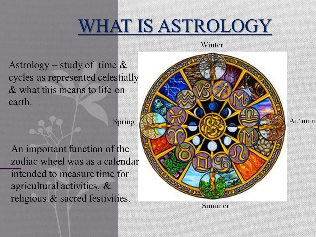 WHAT IS ASTROLOGY Astrology – study of time & cycles as represented celestially & what this means to life on earth.