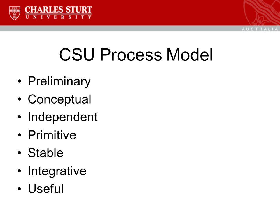 CSU Process Model Preliminary Conceptual Independent Primitive Stable Integrative Useful