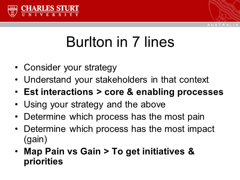 Burlton in 7 lines Consider your strategy Understand your stakeholders in that context Est interactions > core & enabling processes Using your strategy and the above Determine which process has the most pain Determine which process has the most impact (gain) Map Pain vs Gain > To get initiatives & priorities