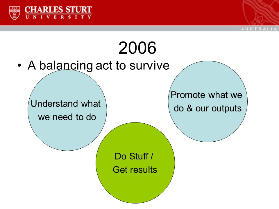 2006 A balancing act to survive Understand what we need to do Promote what we do & our outputs Do Stuff / Get results