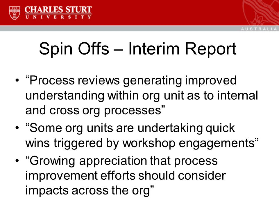 """Spin Offs – Interim Report """"Process reviews generating improved understanding within org unit as to internal and cross org processes"""" """"Some org units"""