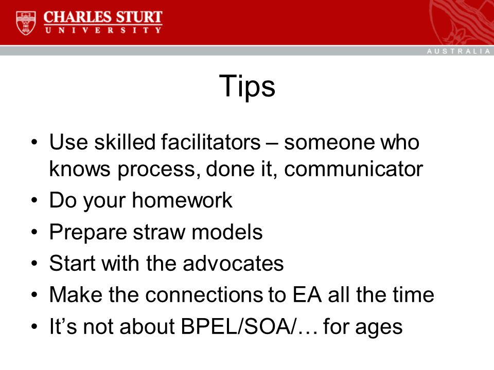 Tips Use skilled facilitators – someone who knows process, done it, communicator Do your homework Prepare straw models Start with the advocates Make the connections to EA all the time It's not about BPEL/SOA/… for ages