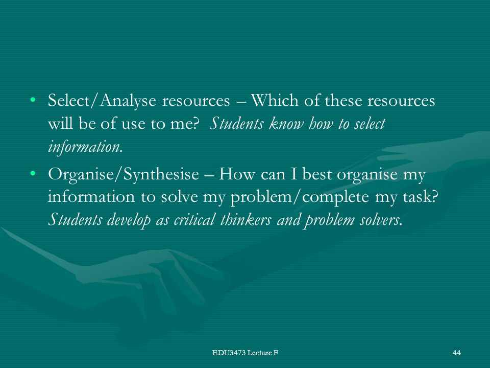 EDU3473 Lecture F44 Select/Analyse resources – Which of these resources will be of use to me? Students know how to select information. Organise/Synthe