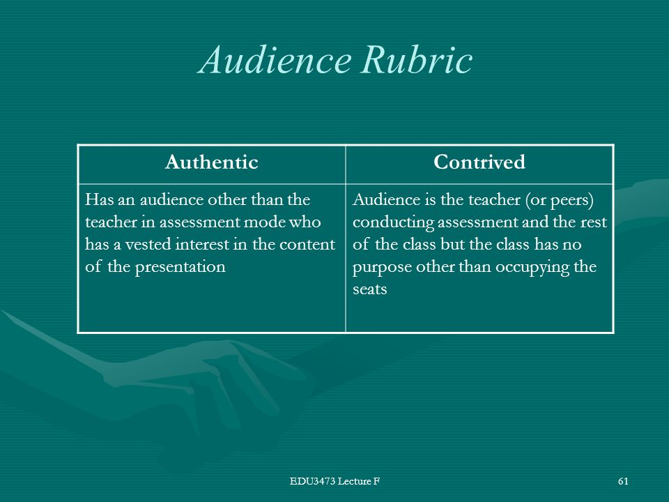 EDU3473 Lecture F61 AuthenticContrived Has an audience other than the teacher in assessment mode who has a vested interest in the content of the presentation Audience is the teacher (or peers) conducting assessment and the rest of the class but the class has no purpose other than occupying the seats Audience Rubric