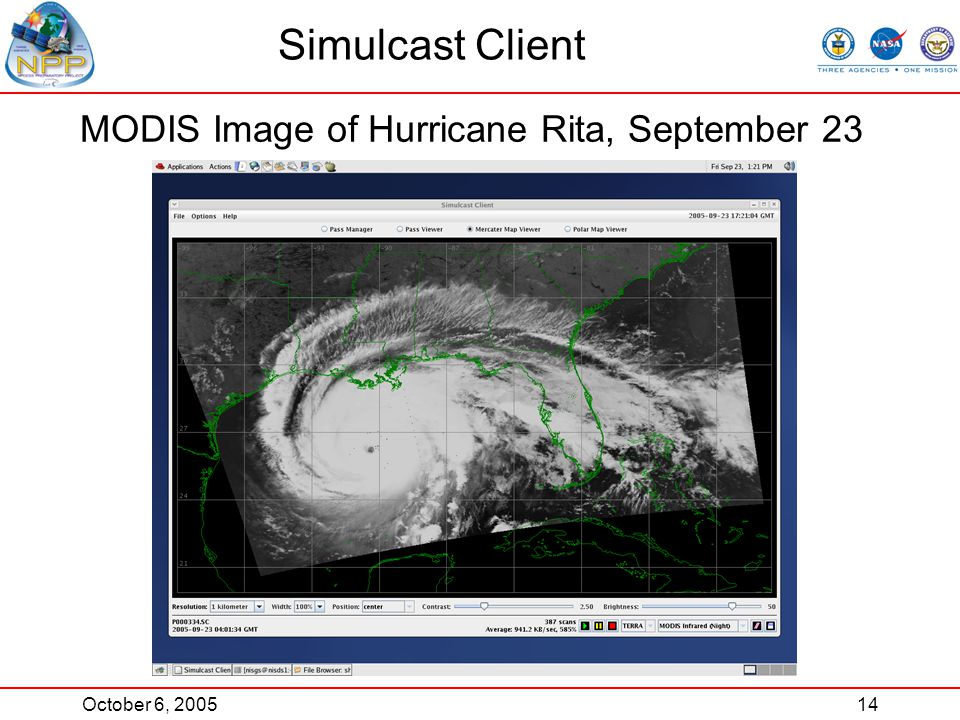 October 6, 200514 Simulcast Client MODIS Image of Hurricane Rita, September 23