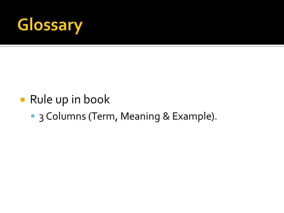  Rule up in book  3 Columns (Term, Meaning & Example).