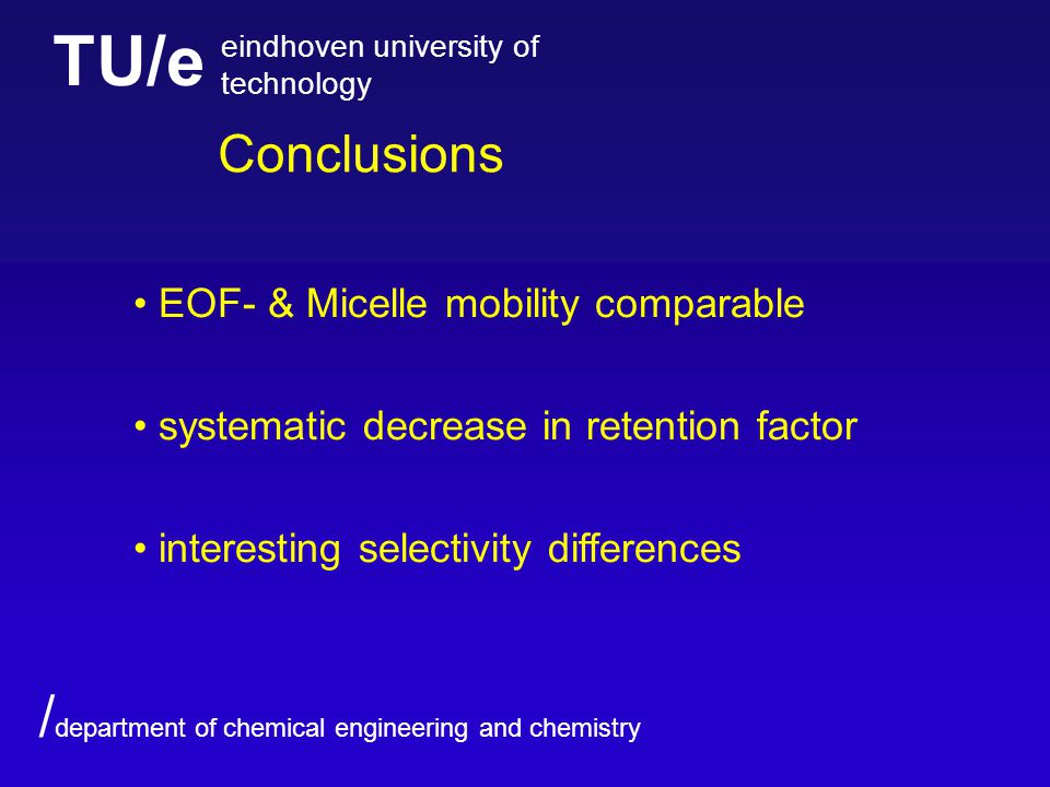 TU/e eindhoven university of technology / department of chemical engineering and chemistry Conclusions EOF- & Micelle mobility comparable systematic decrease in retention factor interesting selectivity differences
