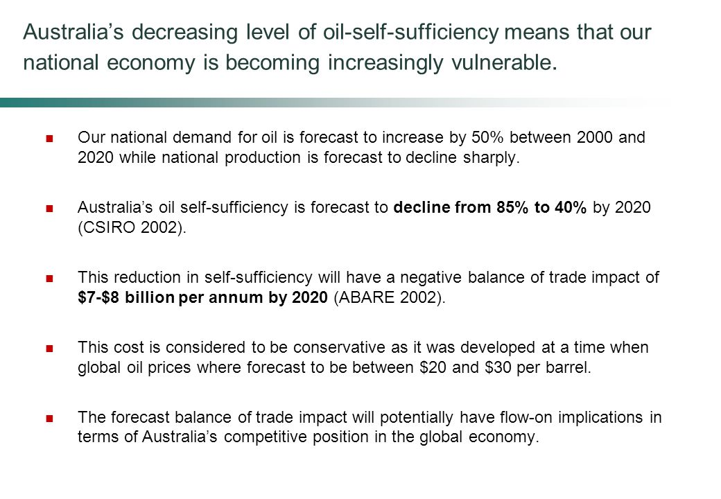 Australia's decreasing level of oil-self-sufficiency means that our national economy is becoming increasingly vulnerable.