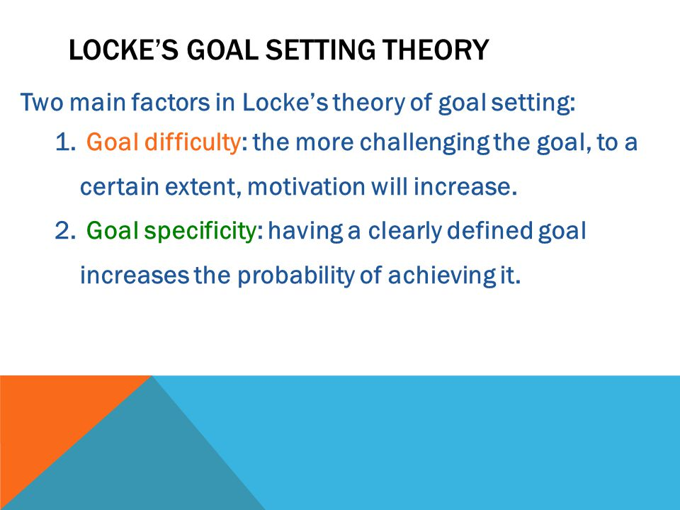 Two main factors in Locke's theory of goal setting: 1.