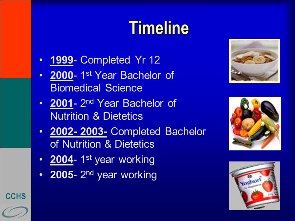 CCHS Timeline 1999- Completed Yr 12 2000- 1 st Year Bachelor of Biomedical Science 2001- 2 nd Year Bachelor of Nutrition & Dietetics 2002- 2003- Completed Bachelor of Nutrition & Dietetics 2004- 1 st year working 2005- 2 nd year working