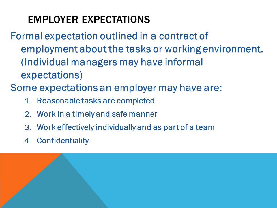 Formal expectation outlined in a contract of employment about the tasks or working environment.