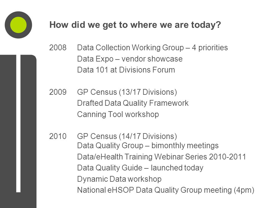 2008Data Collection Working Group – 4 priorities Data Expo – vendor showcase Data 101 at Divisions Forum 2009GP Census (13/17 Divisions) Drafted Data Quality Framework Canning Tool workshop 2010GP Census (14/17 Divisions) Data Quality Group – bimonthly meetings Data/eHealth Training Webinar Series 2010-2011 Data Quality Guide – launched today Dynamic Data workshop National eHSOP Data Quality Group meeting (4pm)