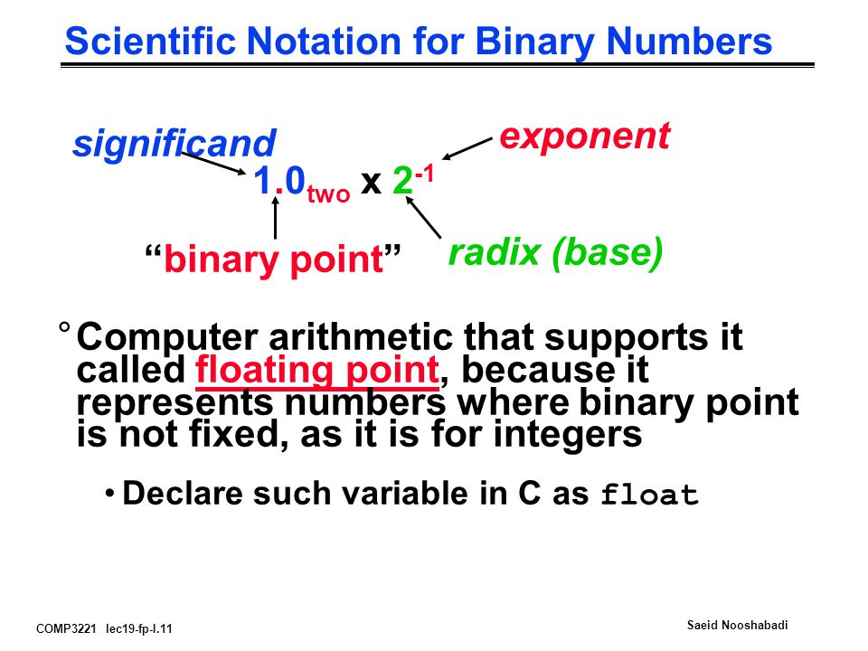 COMP3221 lec19-fp-I.11 Saeid Nooshabadi Scientific Notation for Binary Numbers 1.0 two x 2 -1 radix (base) binary point significand exponent °Computer arithmetic that supports it called floating point, because it represents numbers where binary point is not fixed, as it is for integers Declare such variable in C as float