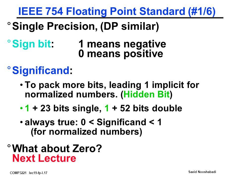 COMP3221 lec19-fp-I.17 Saeid Nooshabadi IEEE 754 Floating Point Standard (#1/6) °Single Precision, (DP similar) °Sign bit:1 means negative 0 means pos