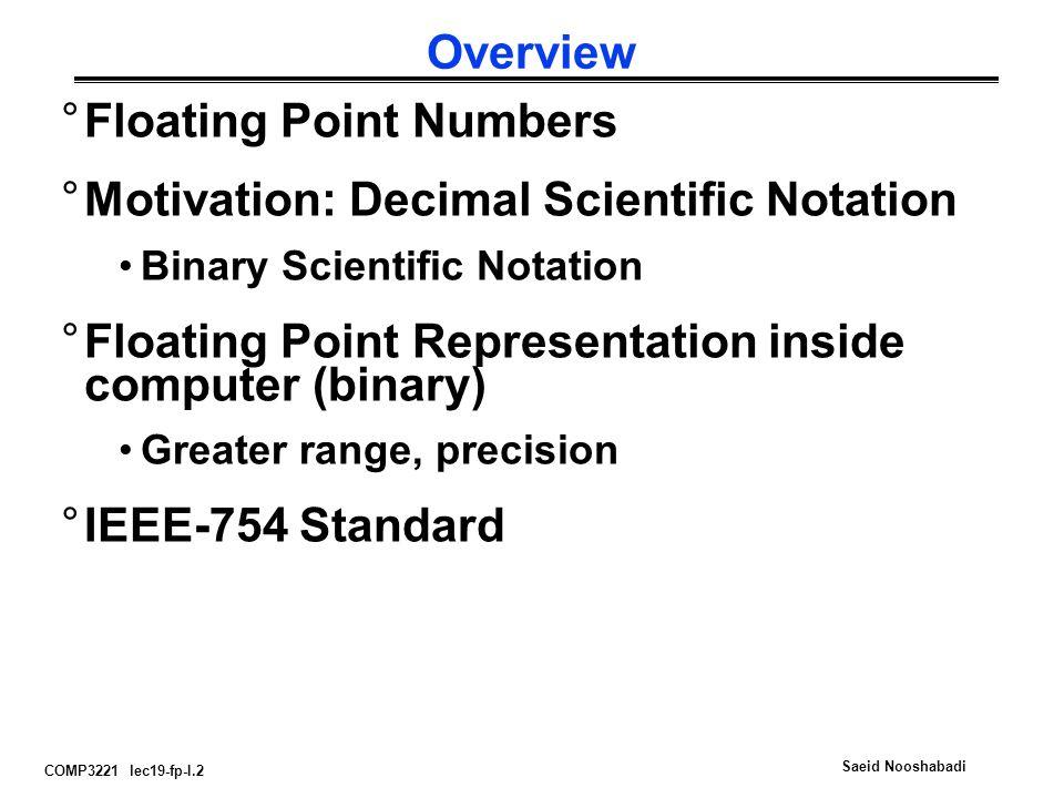 COMP3221 lec19-fp-I.2 Saeid Nooshabadi Overview °Floating Point Numbers °Motivation: Decimal Scientific Notation Binary Scientific Notation °Floating