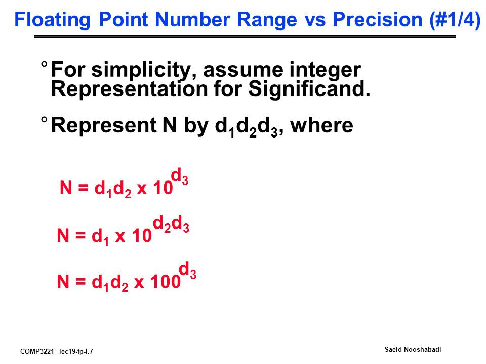 COMP3221 lec19-fp-I.7 Saeid Nooshabadi Floating Point Number Range vs Precision (#1/4) °For simplicity, assume integer Representation for Significand.