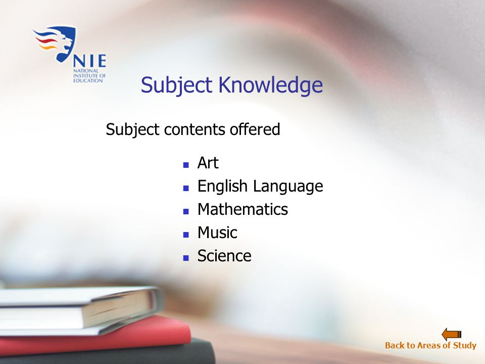 Subject contents offered Subject Knowledge Art English Language Mathematics Music Science Back to Areas of Study