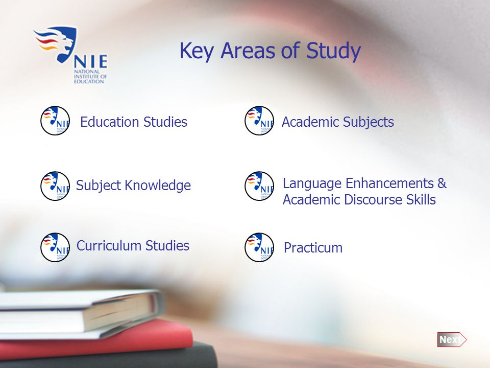 Academic Subjects Key Areas of Study Practicum Education Studies Curriculum Studies Subject Knowledge Language Enhancements & Academic Discourse Skills Next
