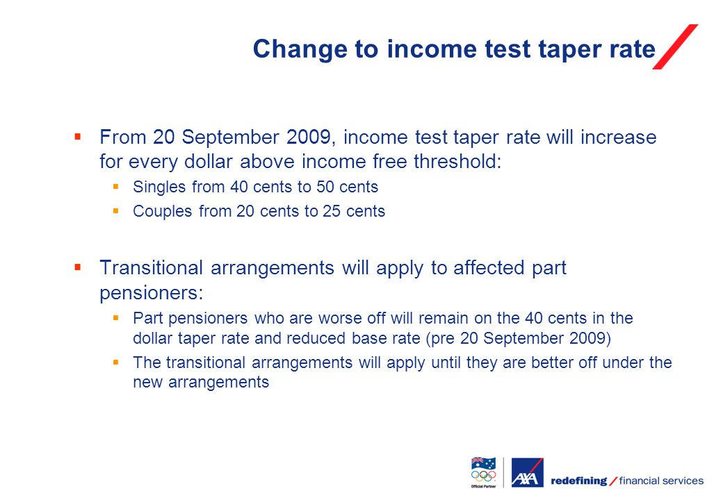 Change to income test taper rate  From 20 September 2009, income test taper rate will increase for every dollar above income free threshold:  Singles from 40 cents to 50 cents  Couples from 20 cents to 25 cents  Transitional arrangements will apply to affected part pensioners:  Part pensioners who are worse off will remain on the 40 cents in the dollar taper rate and reduced base rate (pre 20 September 2009)  The transitional arrangements will apply until they are better off under the new arrangements