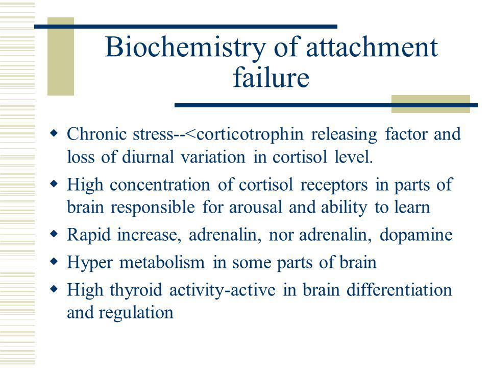 Biochemistry of attachment failure  Chronic stress--<corticotrophin releasing factor and loss of diurnal variation in cortisol level.