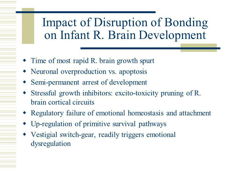Impact of Disruption of Bonding on Infant R. Brain Development  Time of most rapid R.
