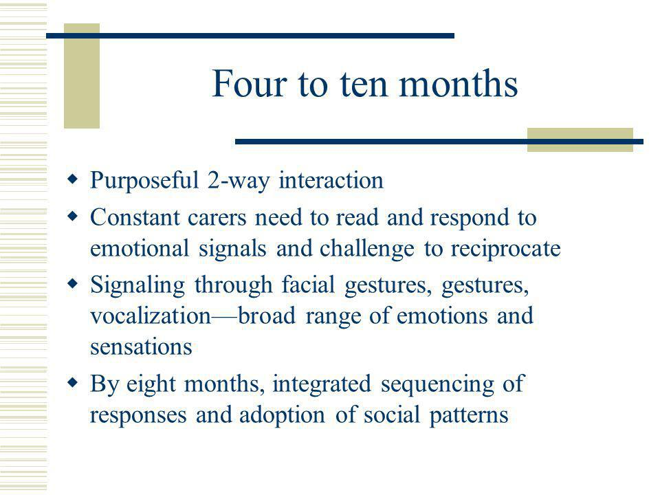 Four to ten months  Purposeful 2-way interaction  Constant carers need to read and respond to emotional signals and challenge to reciprocate  Signaling through facial gestures, gestures, vocalization—broad range of emotions and sensations  By eight months, integrated sequencing of responses and adoption of social patterns