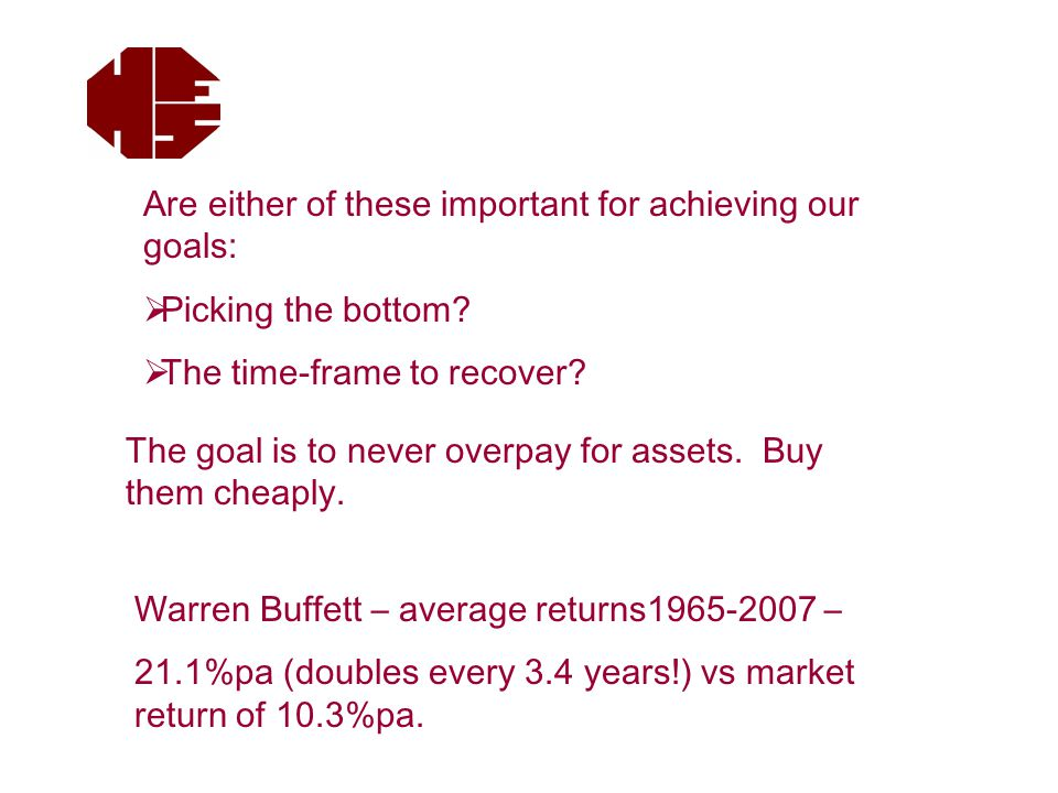 Are either of these important for achieving our goals:  Picking the bottom.