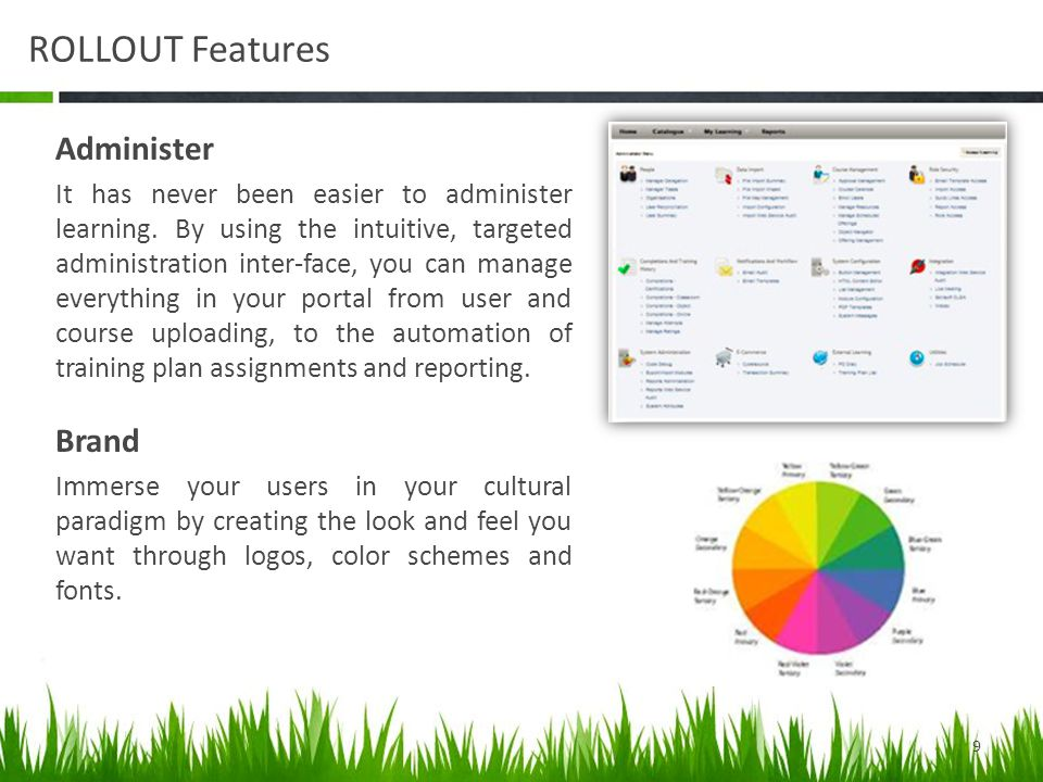 ROLLOUT Features Administer It has never been easier to administer learning.
