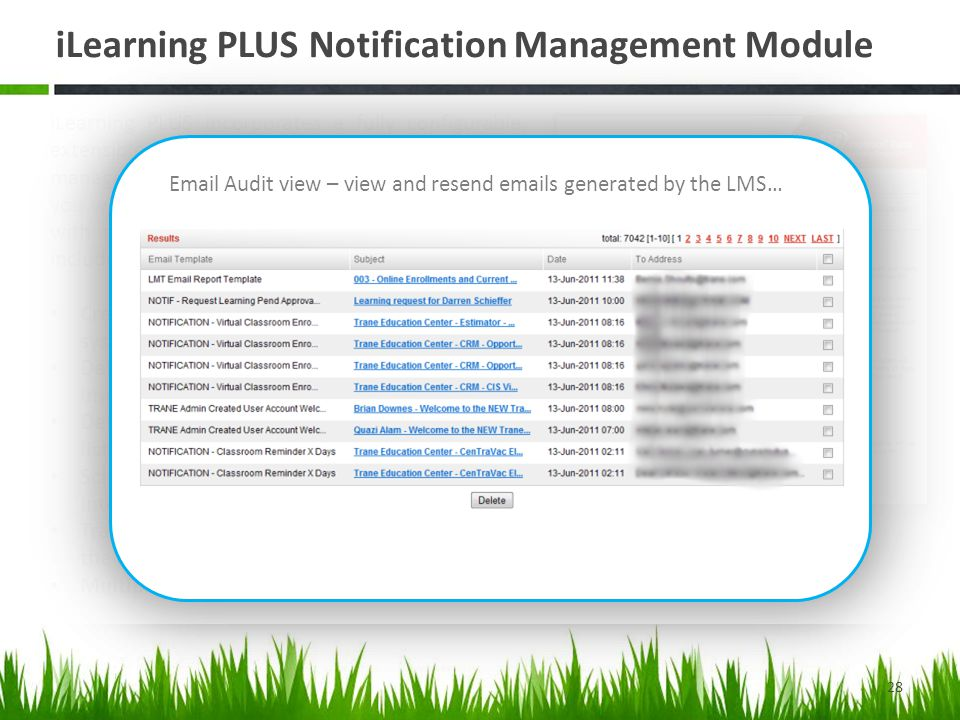 iLearning PLUS Notification Management Module 28 iLearning PLUS incorporates a fully configurable, extensible Email Notification creation, management and tracking module that provides you with the ultimate in communications flexibility with stakeholders interacting with the LMS.