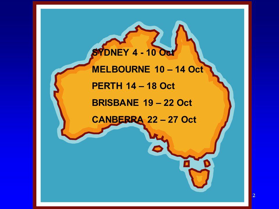 2 SYDNEY 4 - 10 Oct MELBOURNE 10 – 14 Oct PERTH 14 – 18 Oct BRISBANE 19 – 22 Oct CANBERRA 22 – 27 Oct