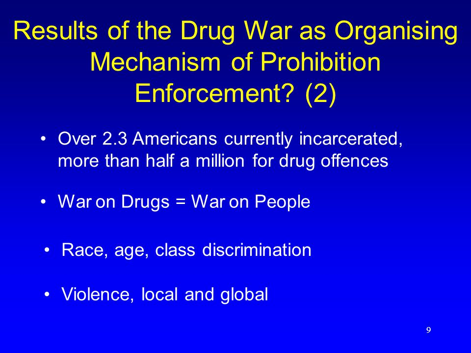 9 Results of the Drug War as Organising Mechanism of Prohibition Enforcement.