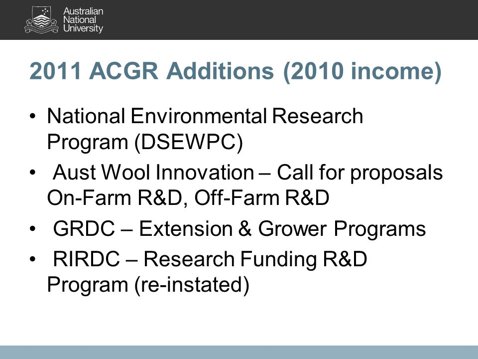2011 ACGR Additions (2010 income) National Environmental Research Program (DSEWPC) Aust Wool Innovation – Call for proposals On-Farm R&D, Off-Farm R&D GRDC – Extension & Grower Programs RIRDC – Research Funding R&D Program (re-instated)