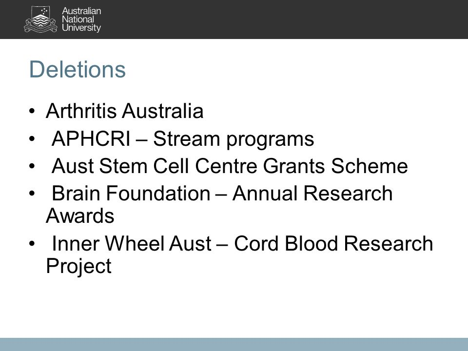 Deletions Arthritis Australia APHCRI – Stream programs Aust Stem Cell Centre Grants Scheme Brain Foundation – Annual Research Awards Inner Wheel Aust – Cord Blood Research Project