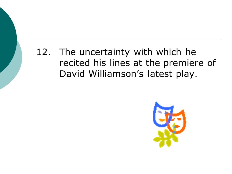12. The uncertainty with which he recited his lines at the premiere of David Williamson's latest play.