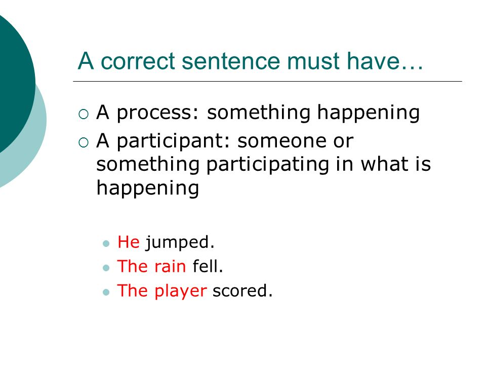 A correct sentence must have…  A process: something happening  A participant: someone or something participating in what is happening He jumped.