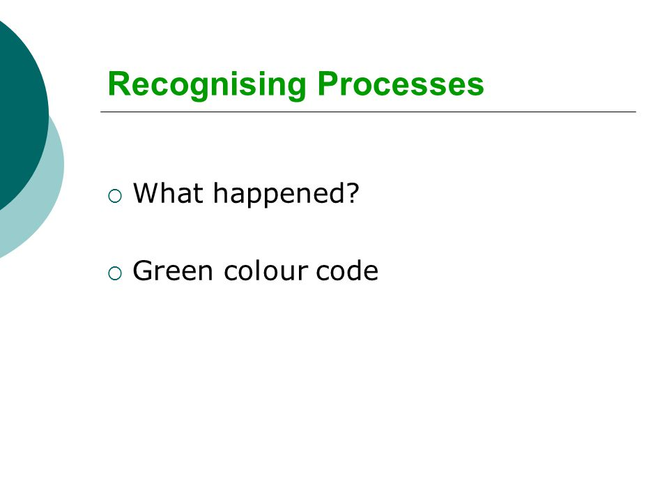 Recognising Processes  What happened  Green colour code