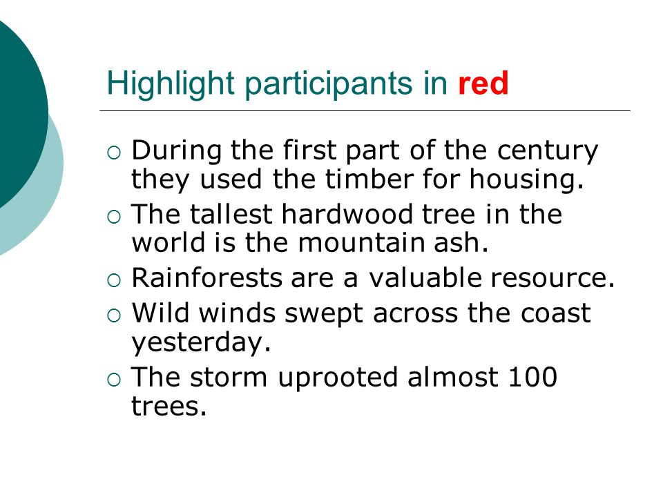 Highlight participants in red  During the first part of the century they used the timber for housing.