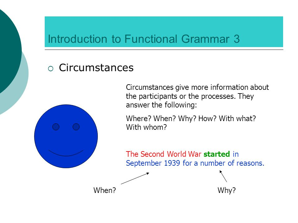 Introduction to Functional Grammar 3  Circumstances Circumstances give more information about the participants or the processes.