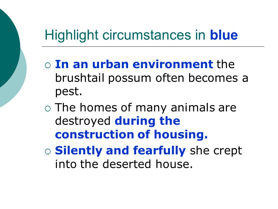 Highlight circumstances in blue  In an urban environment the brushtail possum often becomes a pest.