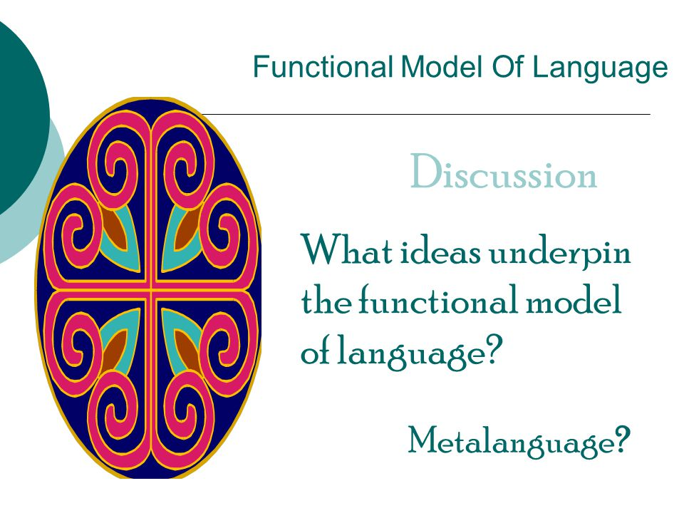 Functional Model Of Language Discussion What ideas underpin the functional model of language.