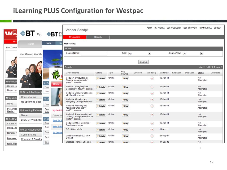 iLearning PLUS Configuration for Westpac 17