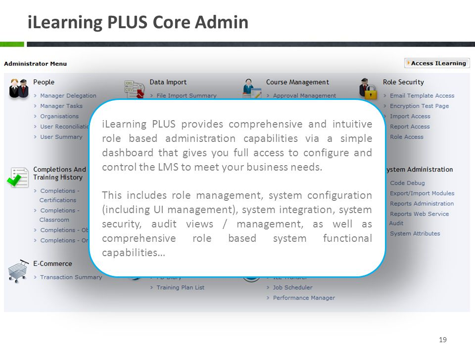 iLearning PLUS Core Admin 19 iLearning PLUS provides comprehensive and intuitive role based administration capabilities via a simple dashboard that gives you full access to configure and control the LMS to meet your business needs.